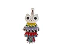 Pandantiv bufnita multicolora din argint si email