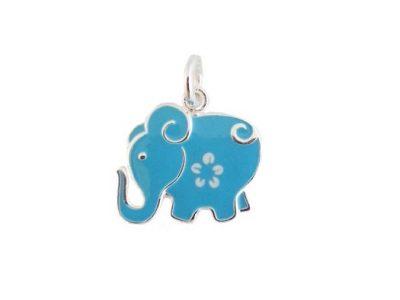 Pandantiv copii elefantel din argint si email