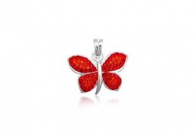 Pandantiv fluture cu cristale rosii