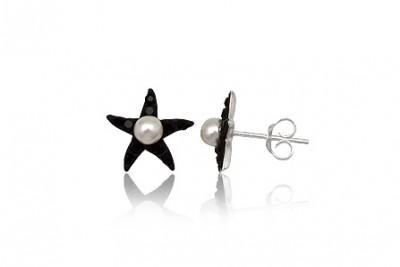 Cercei stelute din argint cu cristale negre