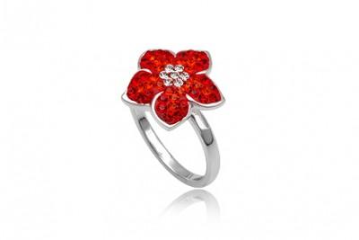 Inel floare din argint si cristale rosii