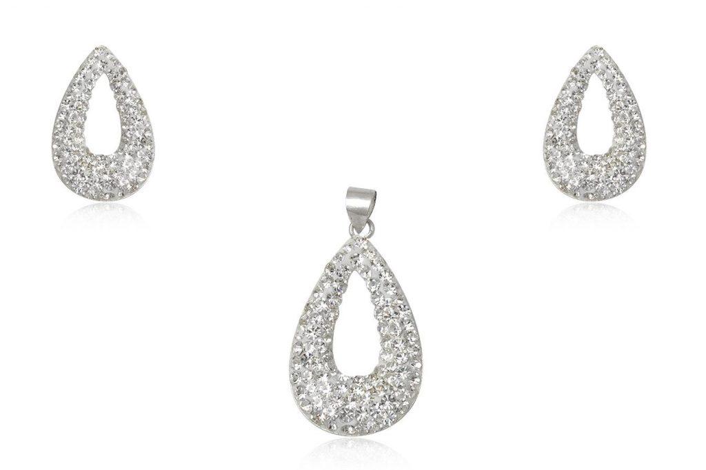Set Lacrima Din Argint Cu Cristale Albe