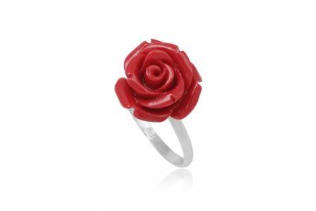 inel din argint cu trandafir rosu