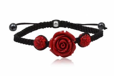 Bratara textila cu trandafir si cristale rosii