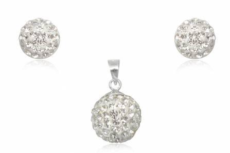 Set Din Argint Cu Cristale Albe