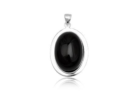 Pandantiv Oval Din Argint Si Onix Negru