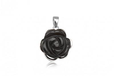 Pandantiv trandafir din onix si argint