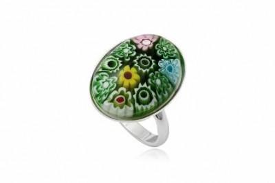 Inel din argint cu sticla millefiori verde