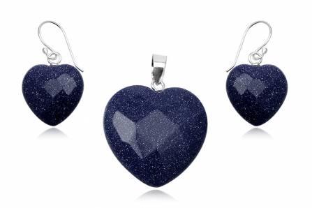 Set inimioare din piatra soarelui albastra si argint