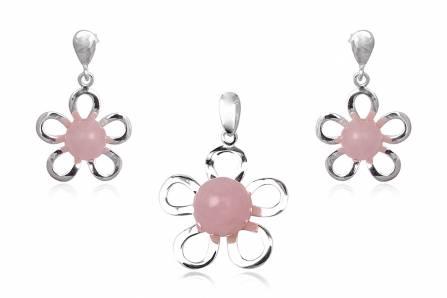 Set din argint cu flori din cuart roz