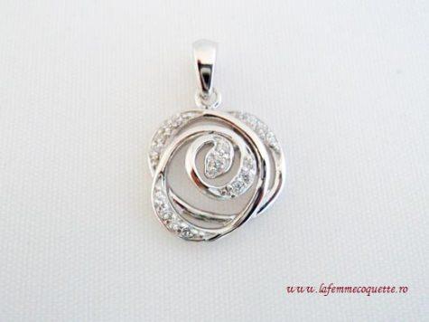 Pandantiv trandafir din argint si zircon