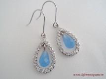 Cercei din argint si cuart bleu