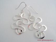 Cercei lungi din argint in spirale