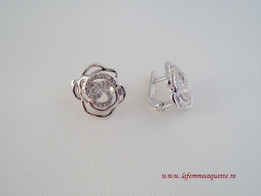 Cercei Din Argint Cu Trandafiri Si Zirconia
