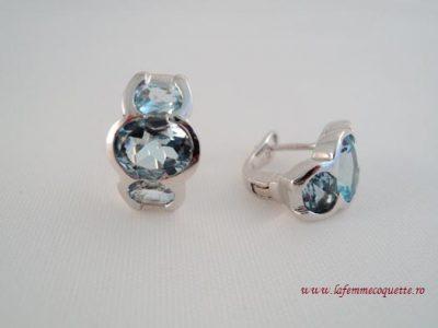 Cercei din argint cu pietre din topaz bleu