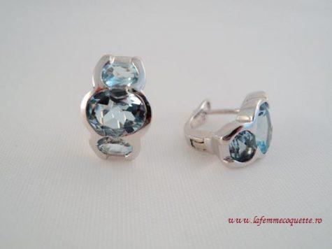 Cercei din argint cu topaz bleu
