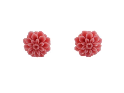 cercei din argint cu crizanteme roz