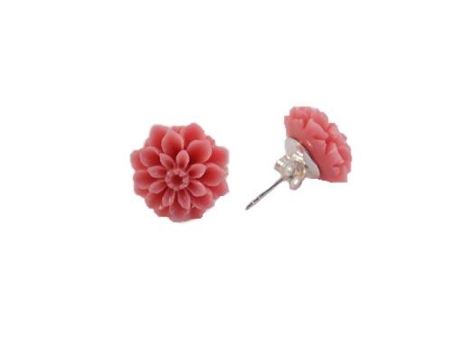 Cercei Cu Floricele Roz Si Argint