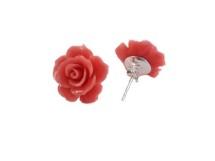 Cercei din argint cu trandafiri rosii