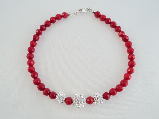 Bratara Din Coral Rosu Cu Cristale Albe