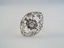Inel din argint cu motiv floral oriental