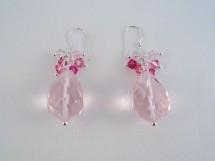 Cercei din cristale roz