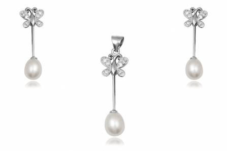 set din argint cu fluturi si perle