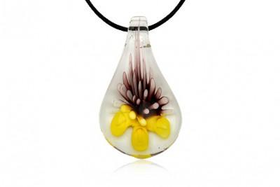 Pandantiv din sticla de Murano cu flori galbene