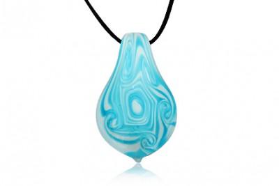 Pandantiv din sticla de Murano in alb si bleu