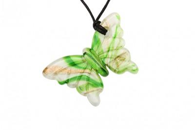 Pandantiv din sticla de Murano fluture verde
