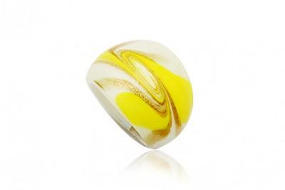 Inel din sticla de Murano galben si auriu
