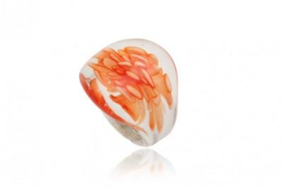 Inel din sticla de Murano cu floare orange