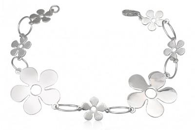 Bratara din argint cu flori mici si mari