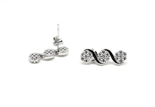 cercei moderni argint si zircon