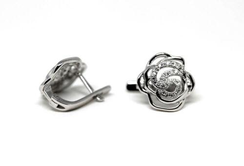 cercei argint rodiat cu trandafiri