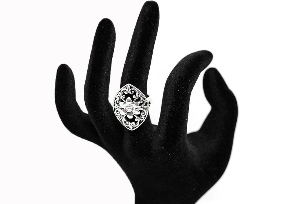 inel floare din argint