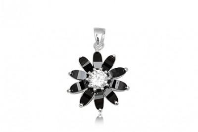 Pandantiv din argint cu petale din zirconia negre