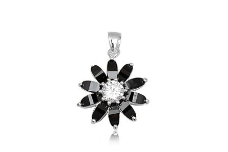 pandantiv floare zirconii negre
