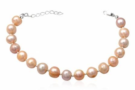 Bratara din perle roz pe fir din argint
