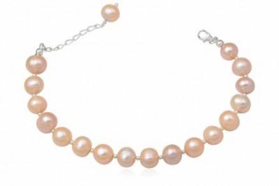 Bratara din perle roz si argint