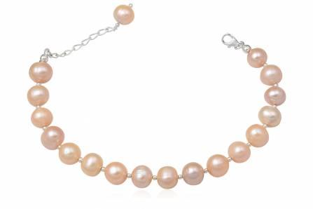 bratara din perle naturale roz si argint
