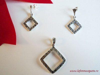 Set romburi din argint cu marcasite