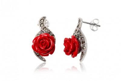 Cercei din argint cu marcasite si trandafiri rosii