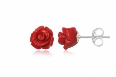 Cercei cu trandafiri rosii