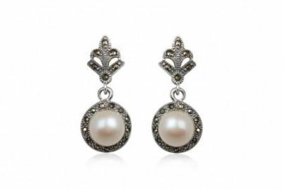 Cercei rotunzi din argint cu perle si marcasite