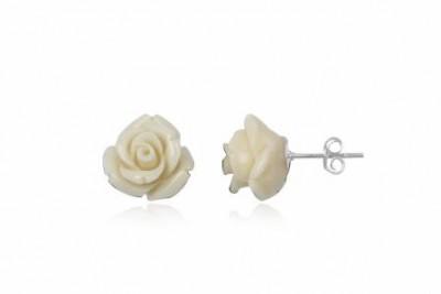 Cercei cu trandafiri albi din argint