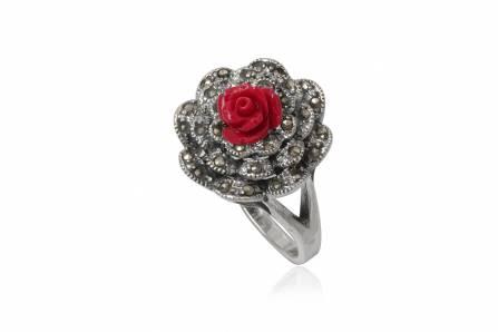 inel floare rosie cu marcasite