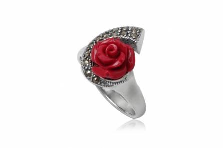 Inel Din Argint Cu Trandafir Rosu Si Marcasite