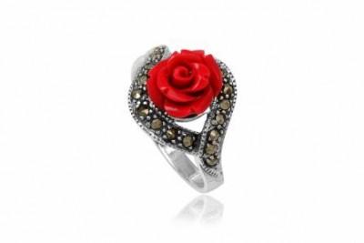 Inel din argint cu trandafir si marcasite