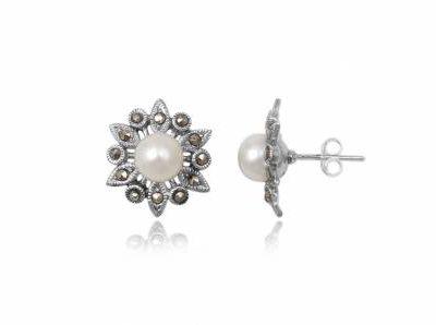 cercei stelute din argint si perle